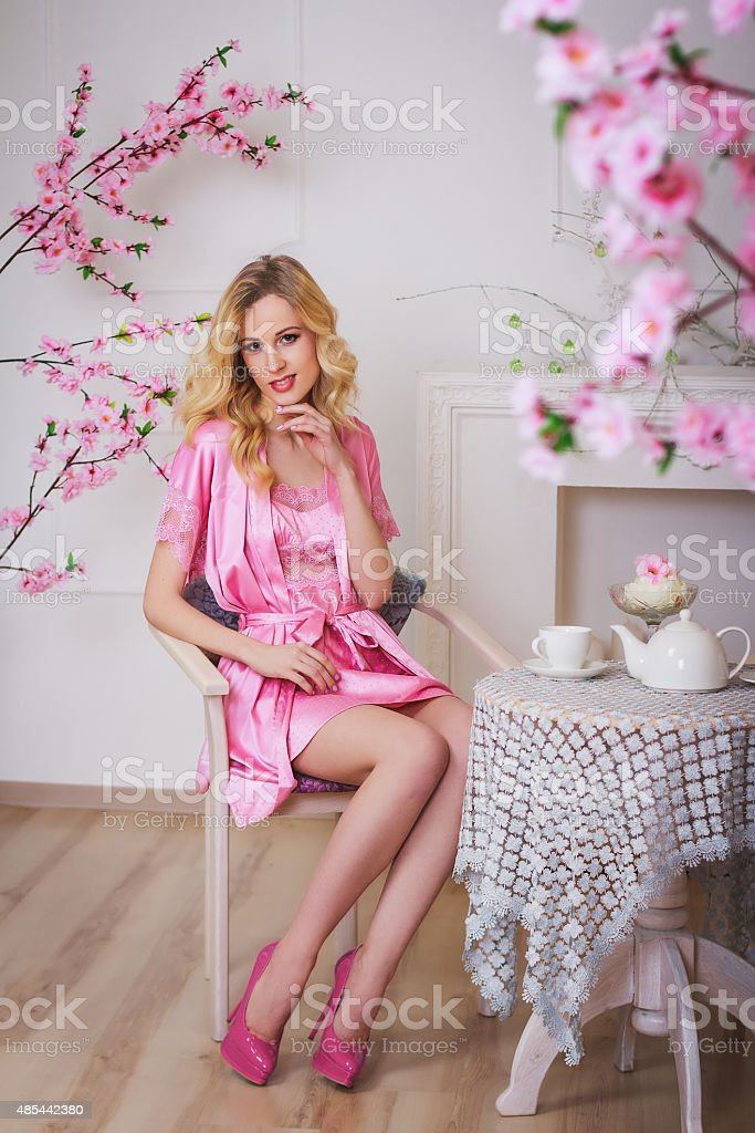 Blond Beautiful Woman In Pink Dressing Gown Stock Photo & More ...