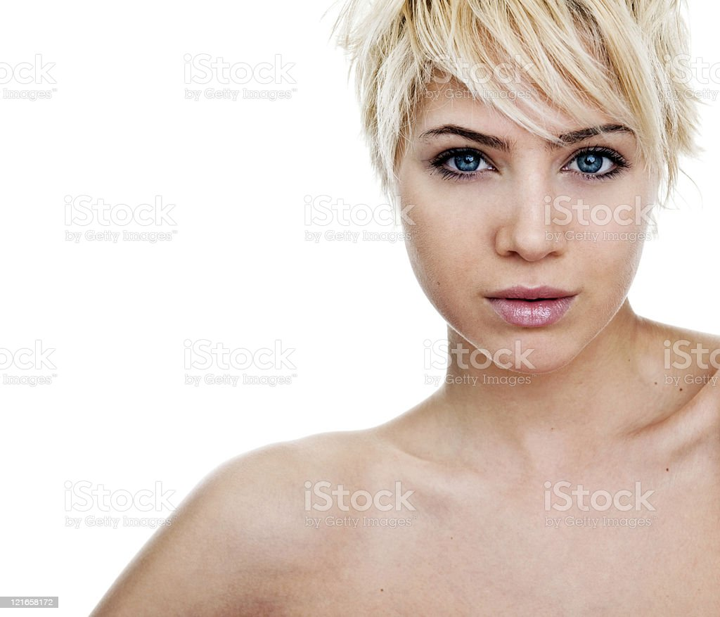 Blond beauty shot on white royalty-free stock photo