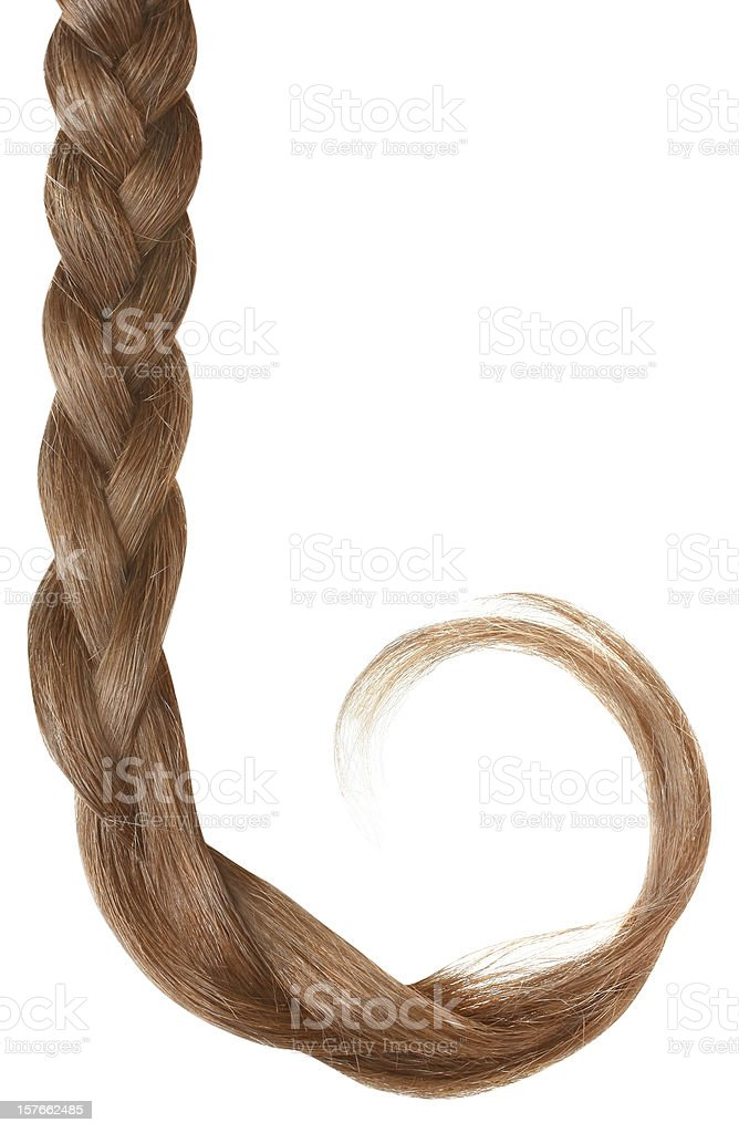 Blond braid isolated on white. royalty-free stock photo