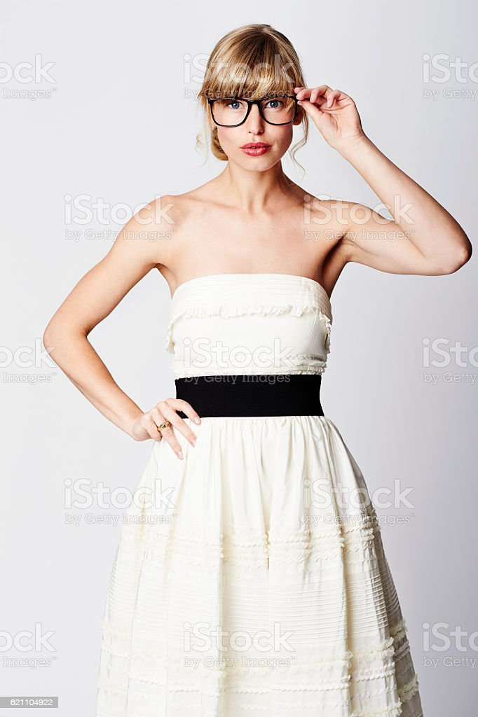 Blond bride in spectacles, portrait stock photo