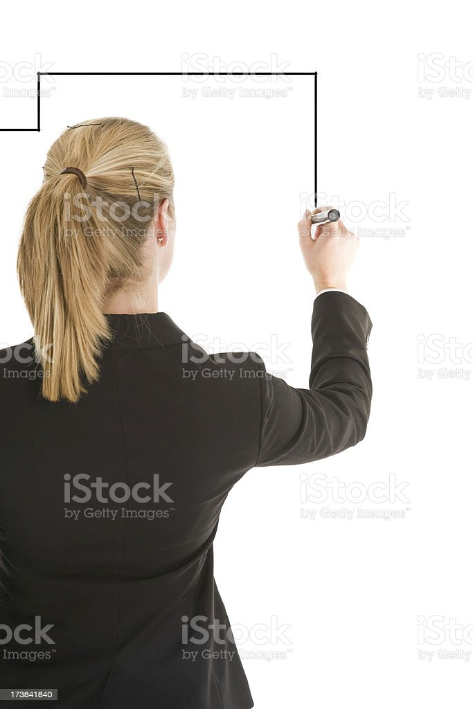 Blond business woman drawing on white royalty-free stock photo