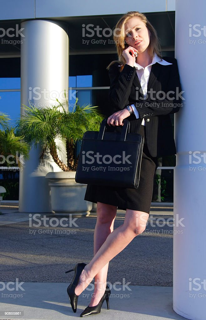 Blond business woman taking a break royalty-free stock photo