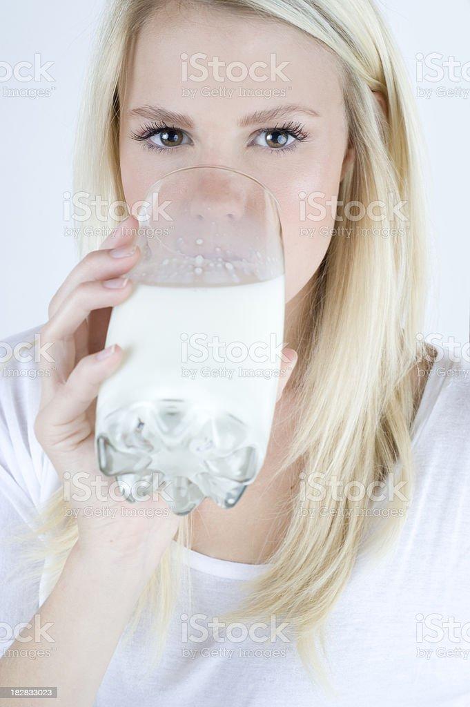 Blond Drinking Milk royalty-free stock photo