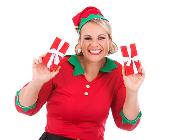 blond elf female holding present - elfenkostüm damen stock-fotos und bilder