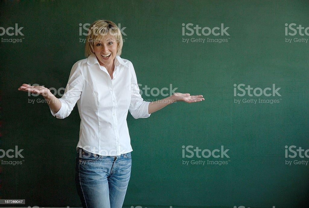 blond female teacher careless stock photo