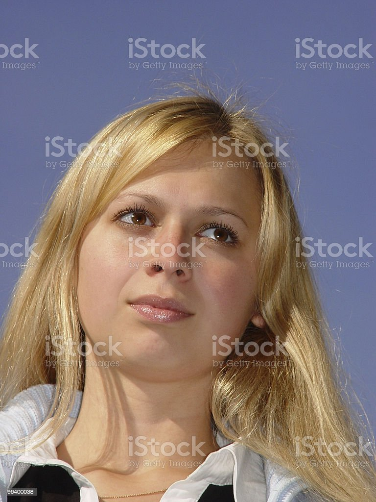 Blond girl against the sky - Royalty-free Adult Stock Photo