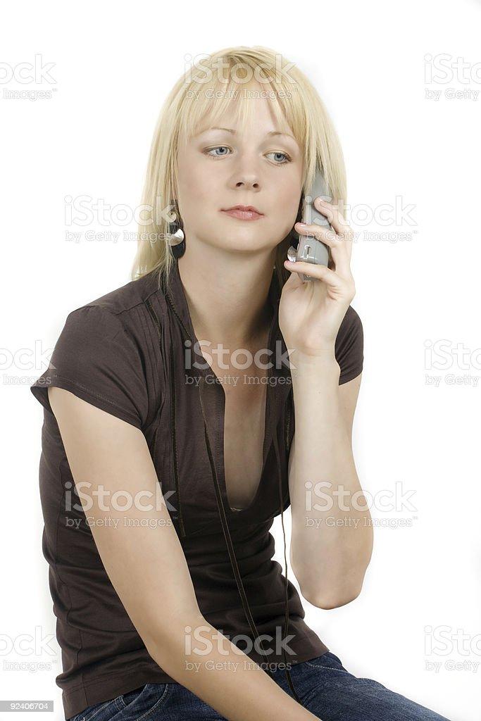 Blond Girl Calling Stock Photo