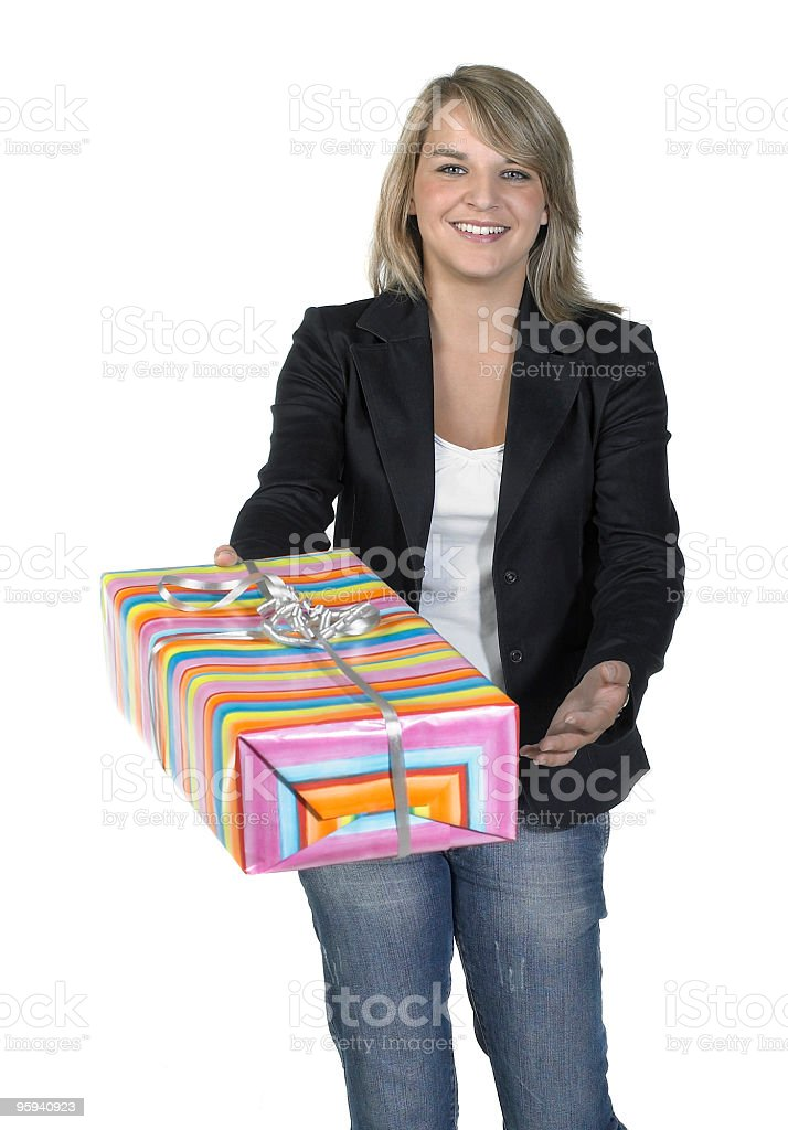 blond girl delivering a present royalty-free stock photo