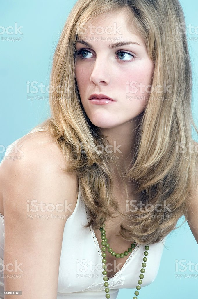 Blond Girl Looking Away stock photo