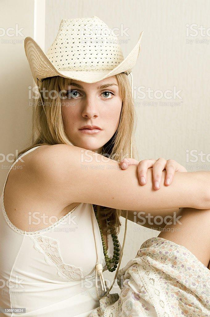 Blond Girl Sitting stock photo