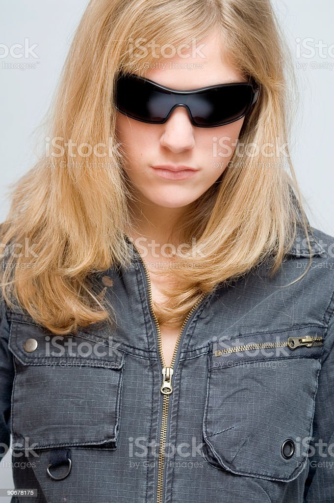 Blond Girl Wearing Glasses stock photo