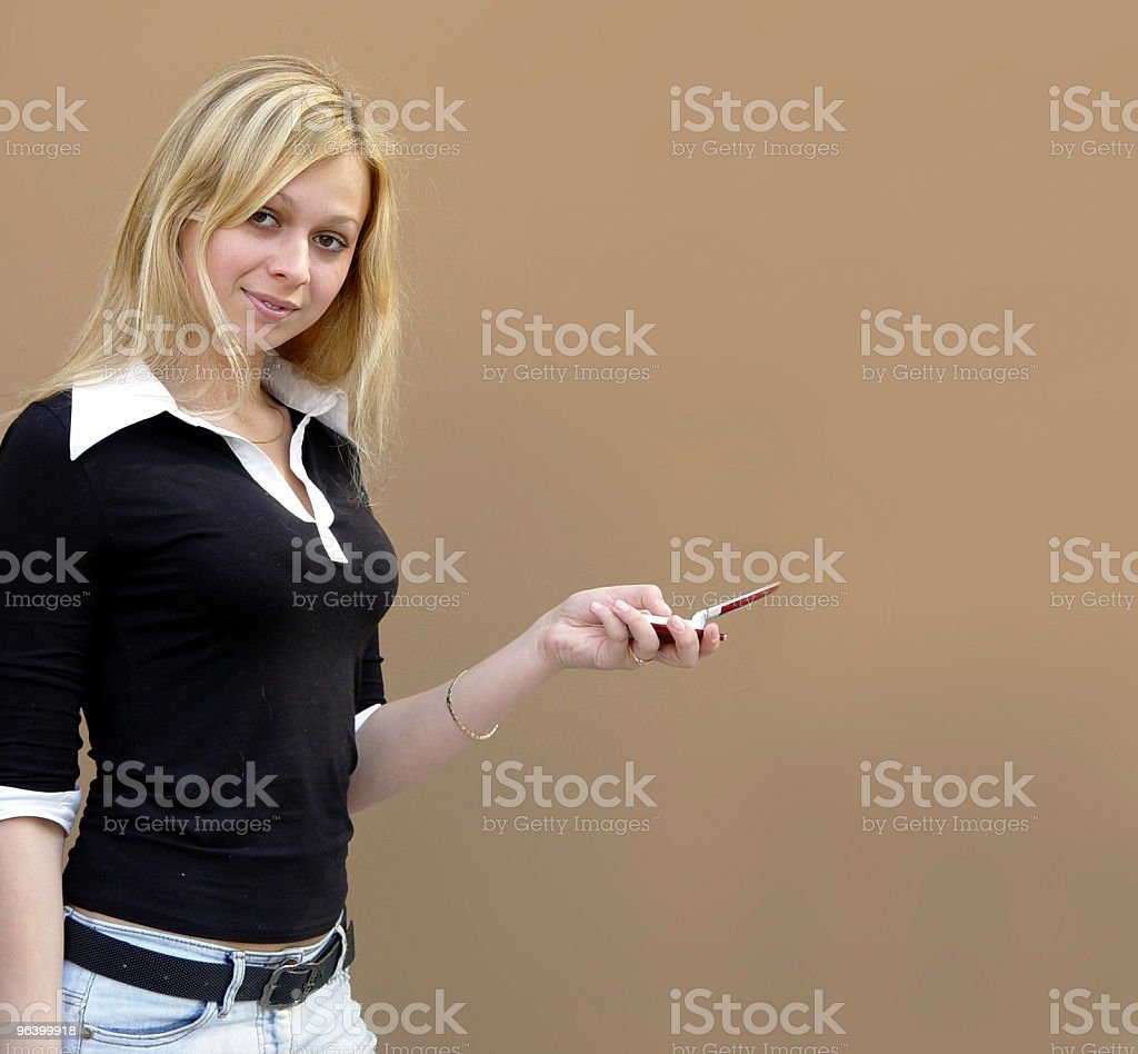 Blond girl with a phone - Royalty-free Adult Stock Photo
