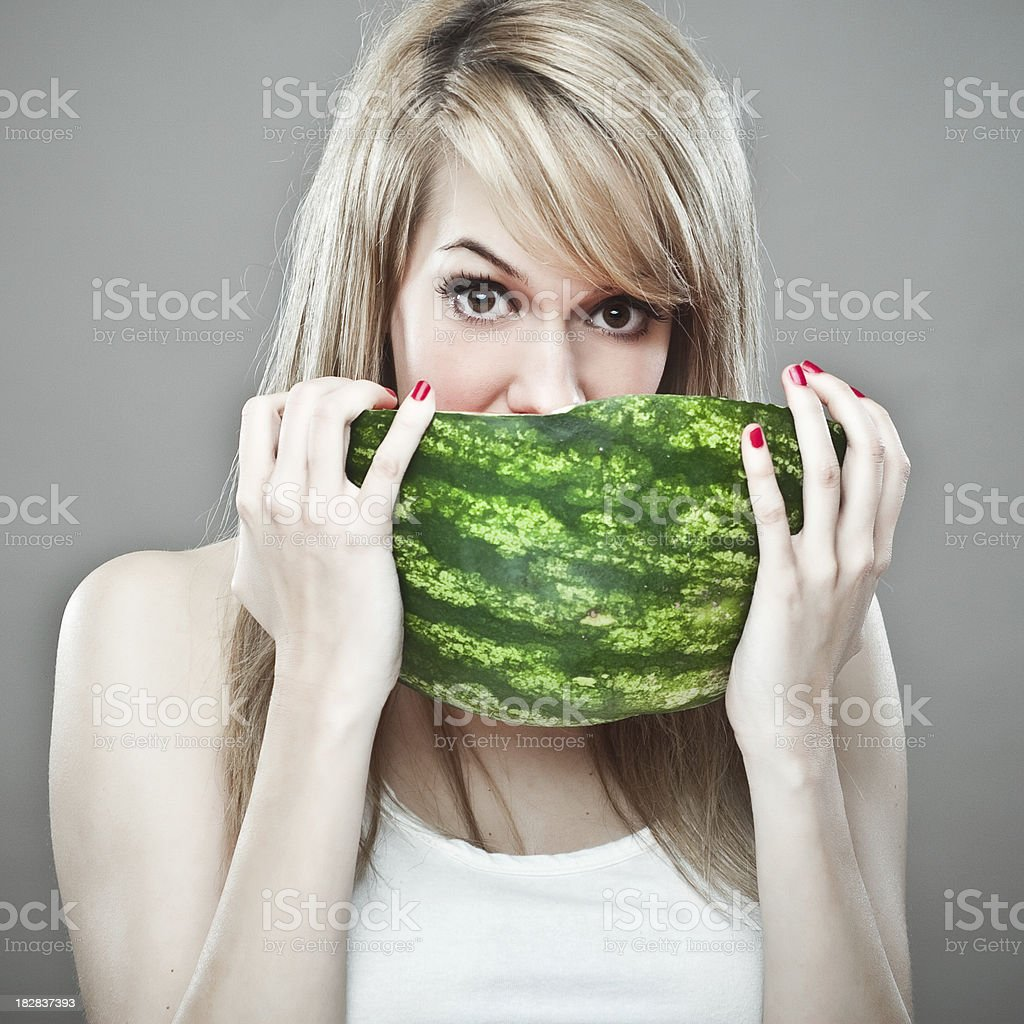Blond Girl with Summer fruits royalty-free stock photo