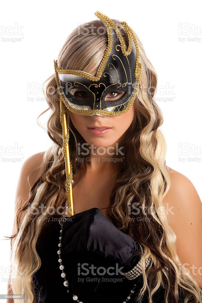Blond Hair Young Women With Venetian mask Isolated on White stock photo