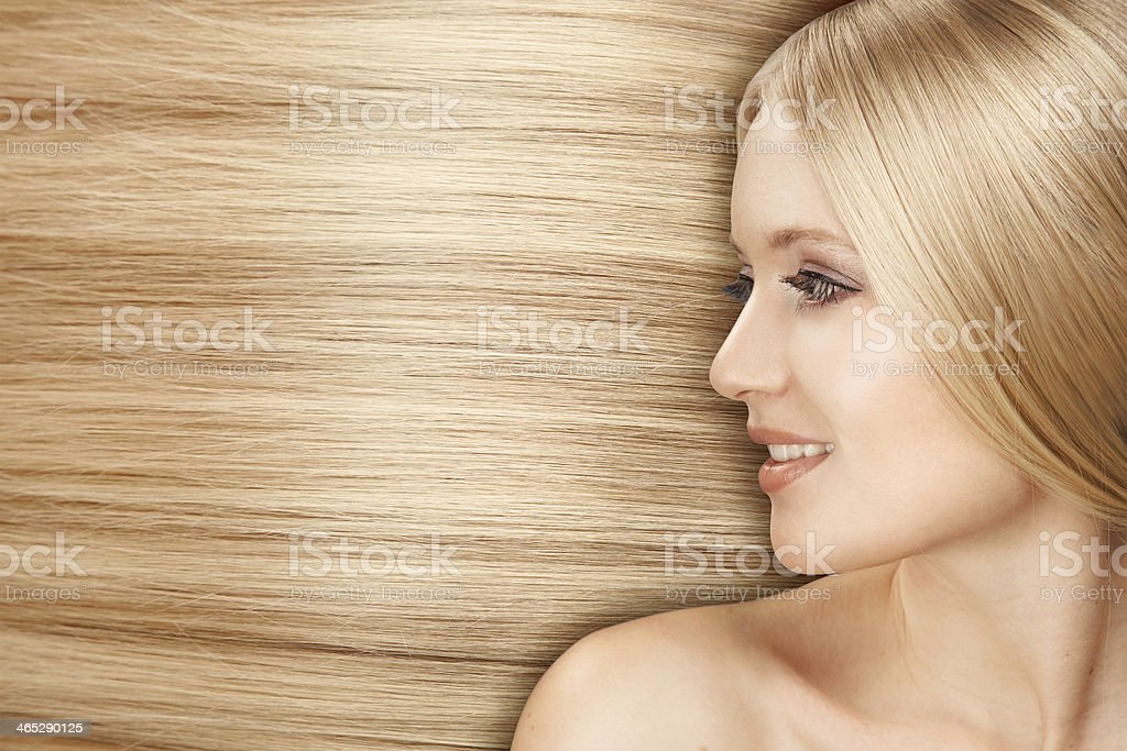 Blond Hair.Beautiful Woman with Straight Long Hair stock photo