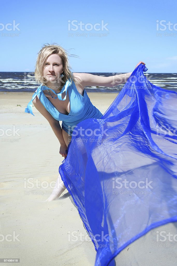 blond in blue royalty-free stock photo