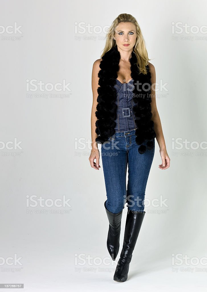 Blond Model at a Fashion Show stock photo