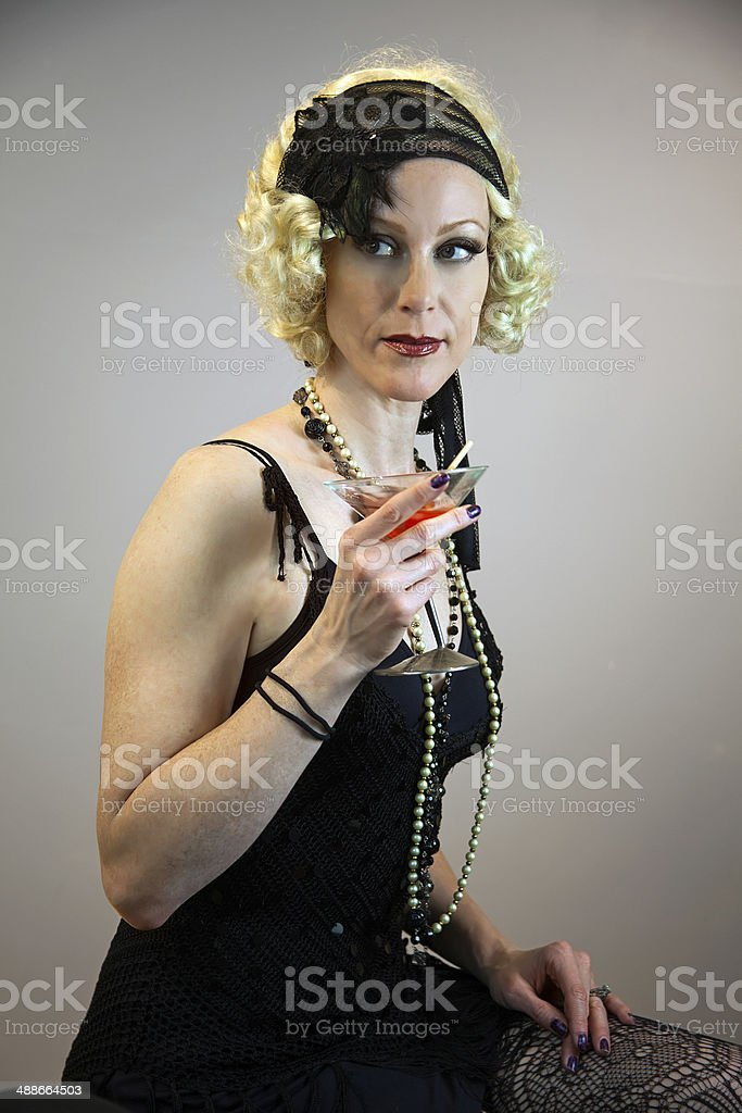 Blond Model Drinking Wine royalty-free stock photo