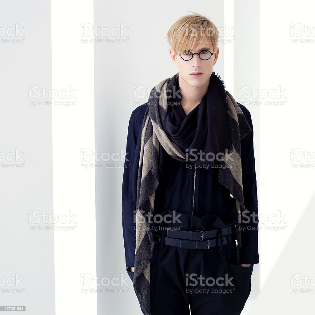 blond modern student man with nerd glasses royalty-free stock photo