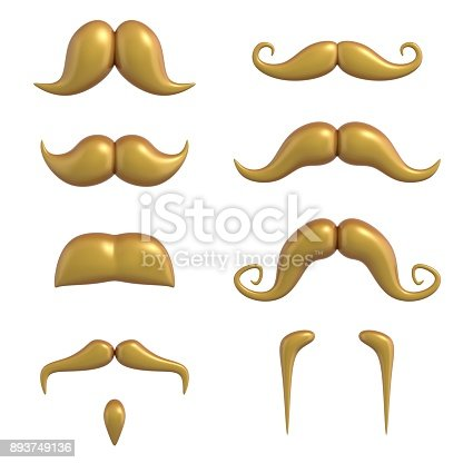 istock Blond mustache 3d set isolated illustration 893749136