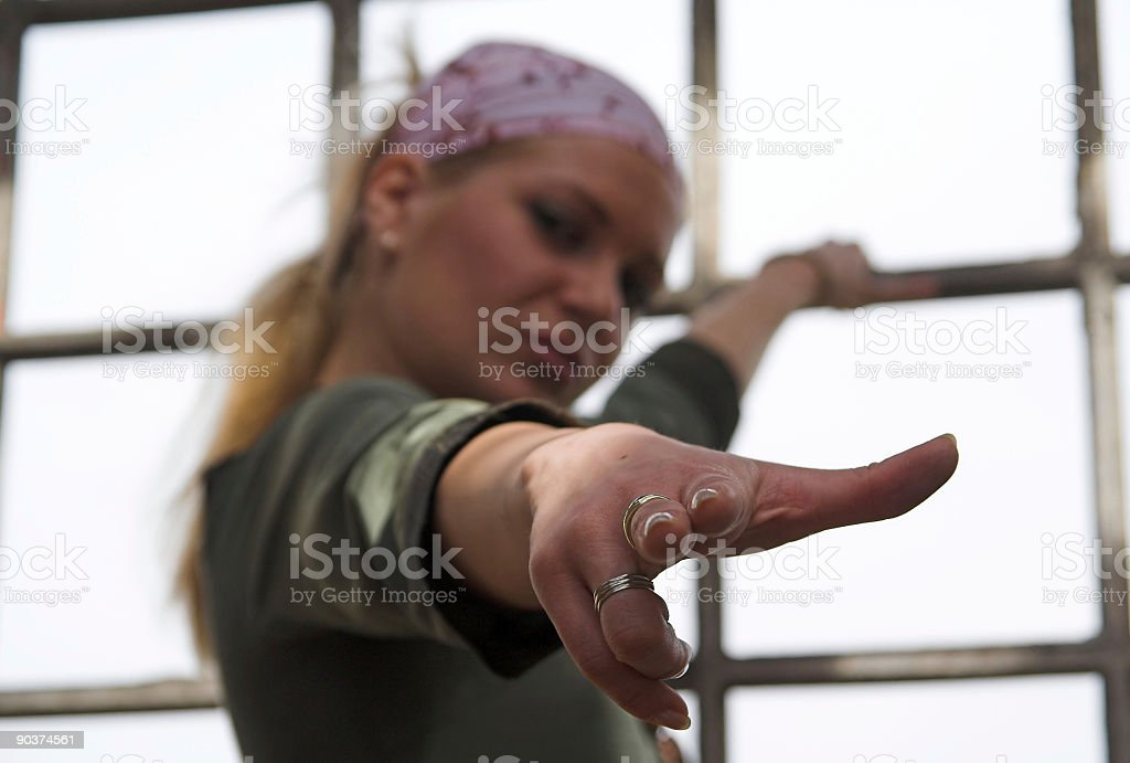 blond pointing royalty-free stock photo