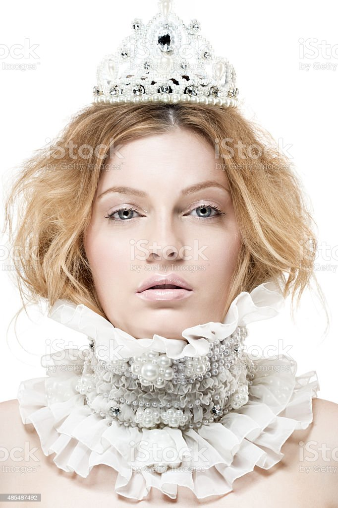 blond princess with pearls jewellery stock photo