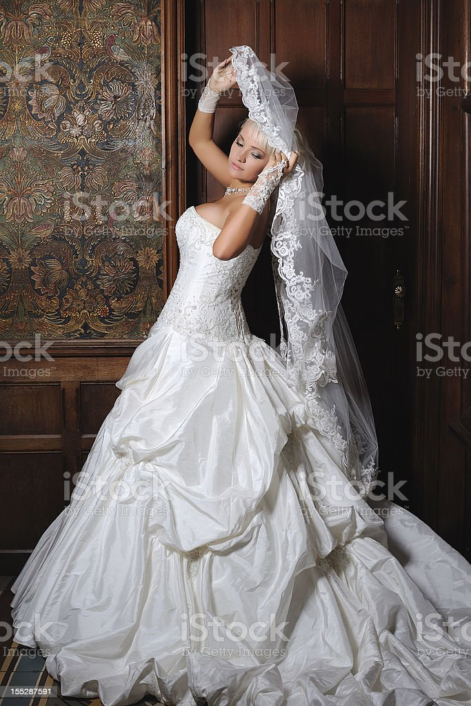 Blond Russian Bride with Wedding Veil Old Villa royalty-free stock photo