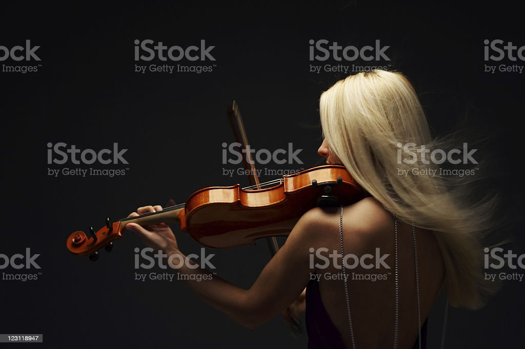 blond violist stock photo