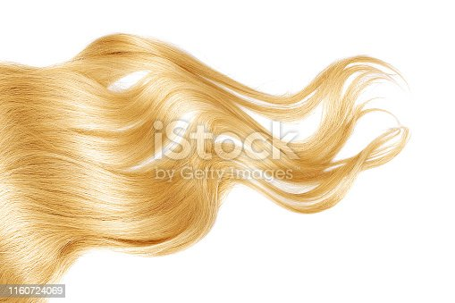 Blond wavy hair isolated on white background