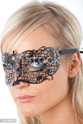 istock Blond with Venecian mask 184286914