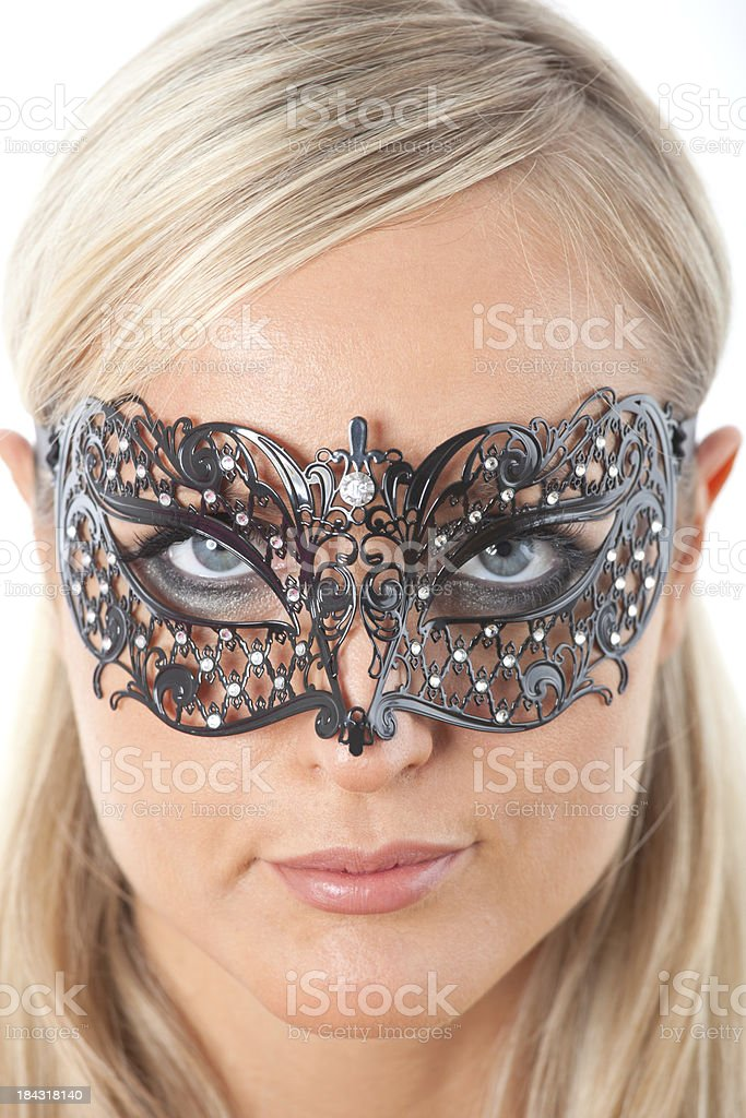 Blond with Venecian mask royalty-free stock photo