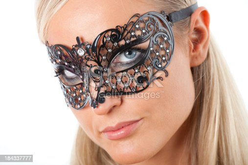istock Blond with Venecian mask 184337777