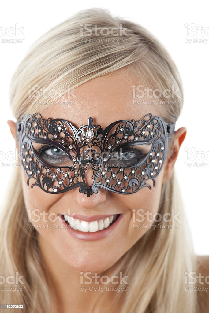 Blond with Venetian mask royalty-free stock photo