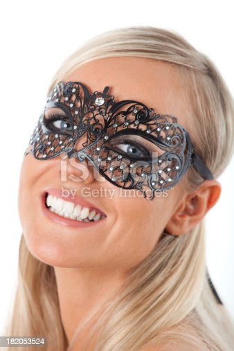 istock Blond with Venetian mask 182053524