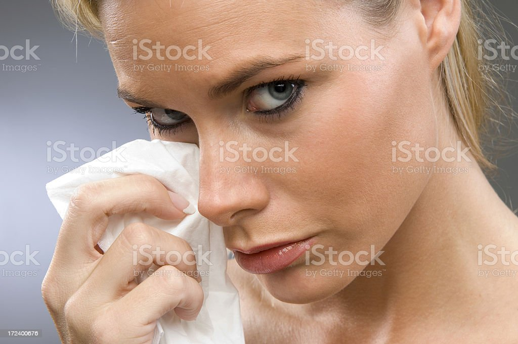 blond woman crying royalty-free stock photo