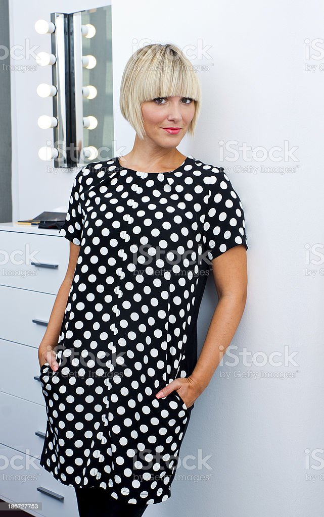 blond woman in make up salon royalty-free stock photo