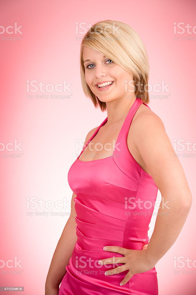 Blond Woman is Pretty in Pink royalty-free stock photo