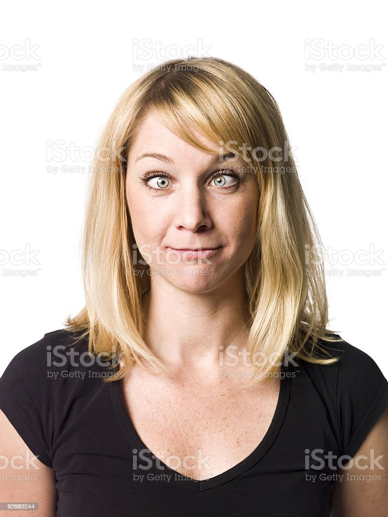 Blond woman making a funny face royalty-free stock photo