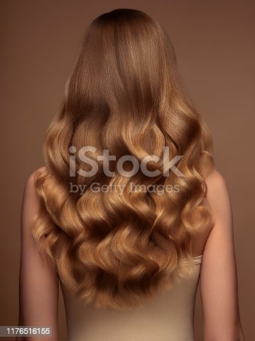 Blond woman with long and shiny hair