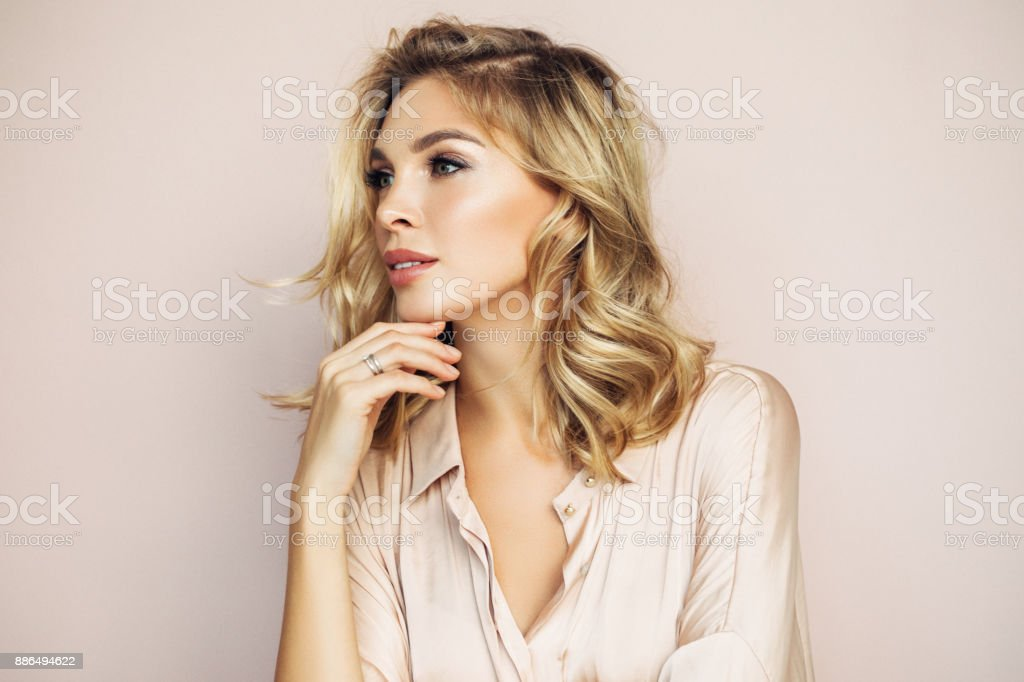 Blond woman with perfect skin stock photo