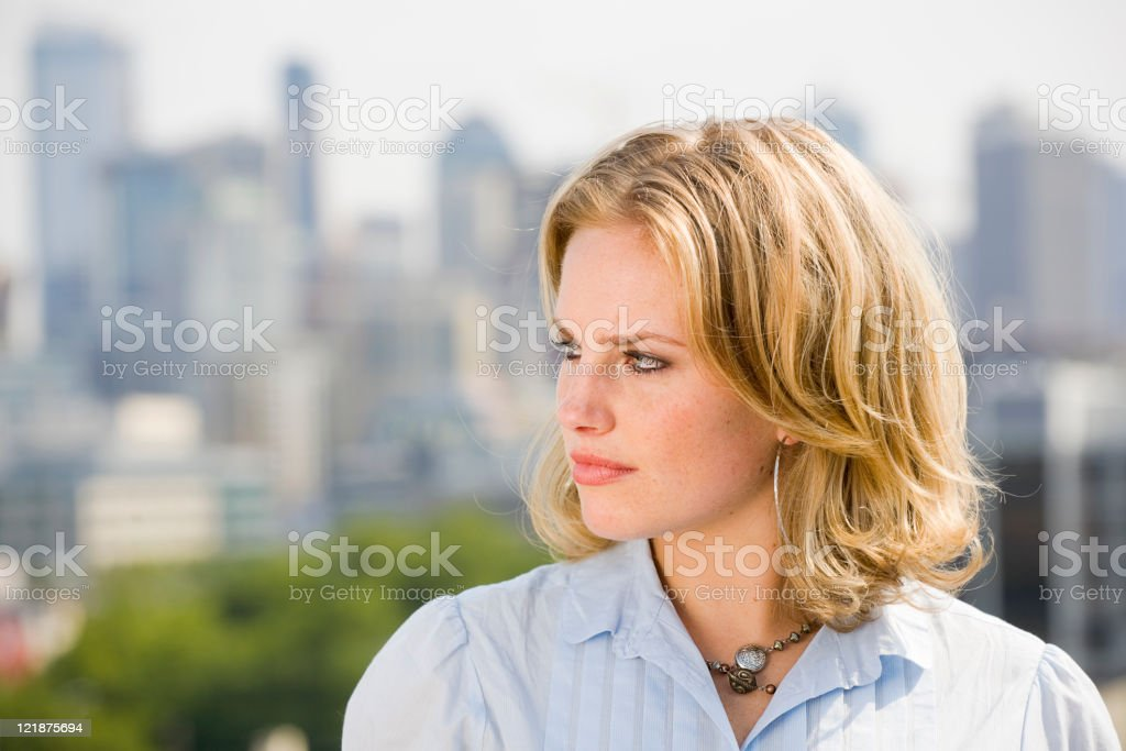 Blond Woman with Skyline royalty-free stock photo