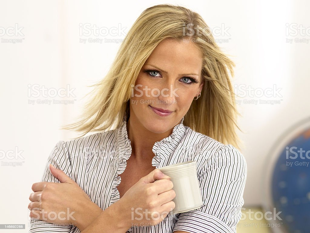 Blond Woman With Tea Cup royalty-free stock photo
