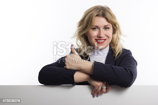 istock Blond women holds white business card on white background 475526078