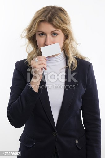 1048561866 istock photo Blond women holds white business card on white background 475526082