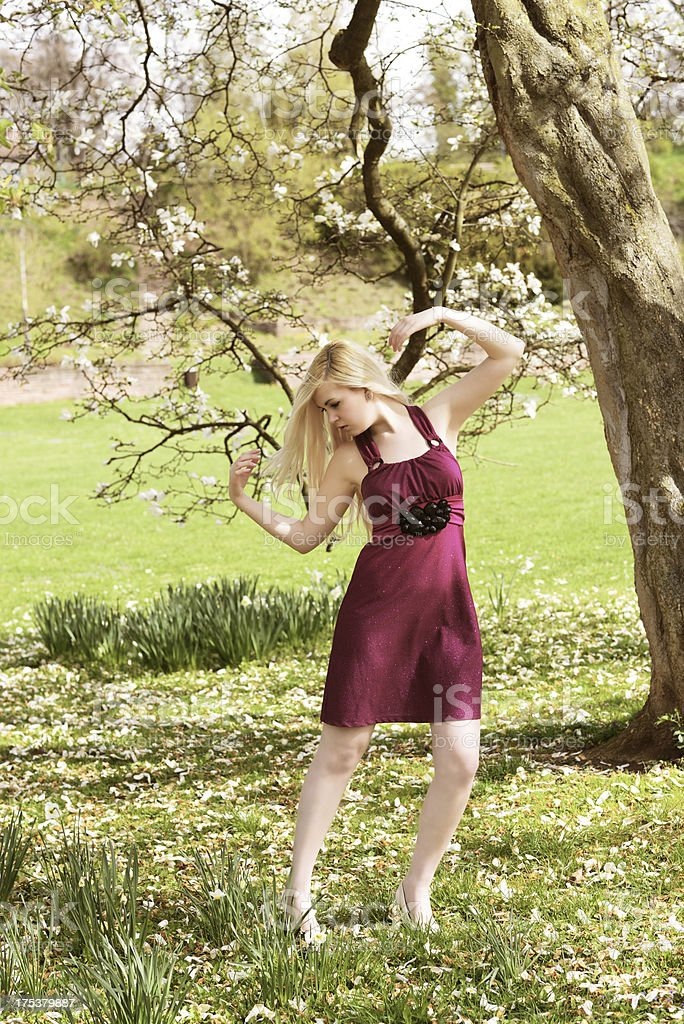 Blond young Woman in Purple Dress Springtime royalty-free stock photo