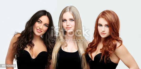 Blonde and brunette.Concept Coloring Hair