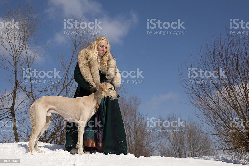 Blonde and saluki stock photo