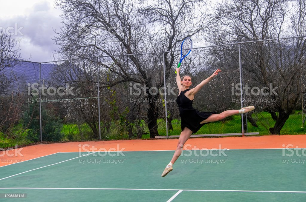Blonde And Tall Ballerina Performs Aesthetic Images While Playing Tennis By Ballet On The Tennis Court Stock Photo Download Image Now Istock