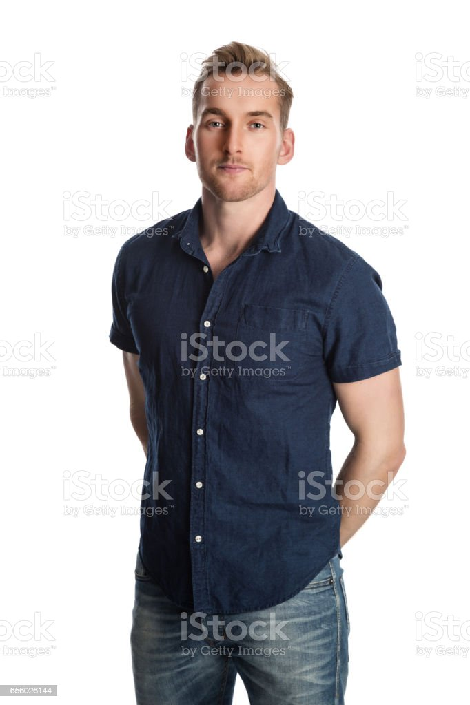 Blonde attractive man with a smile stock photo