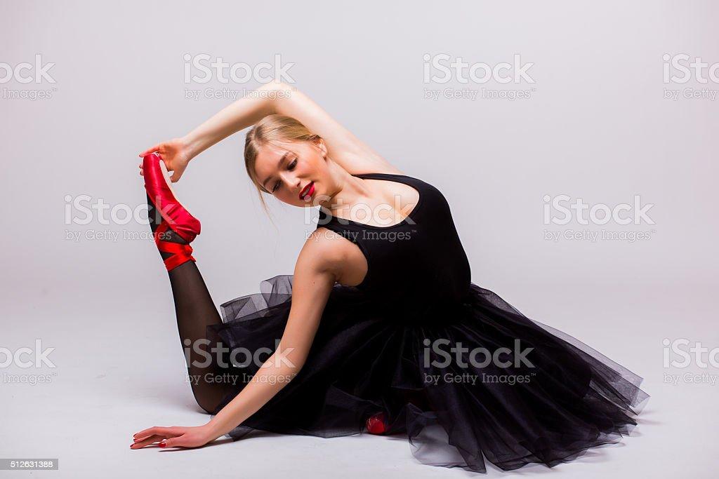 Qwfxtt7ixf Faire Gymnastique Belle En Fille Blonde Robe Split Noire Tutu PSAqU6T